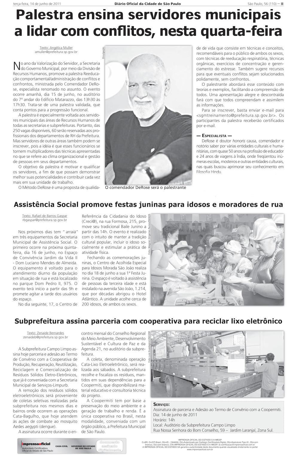 Diário Oficial, 14/6/2011, pagina III
